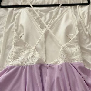 Cals Dresses - White and lilac A line dress